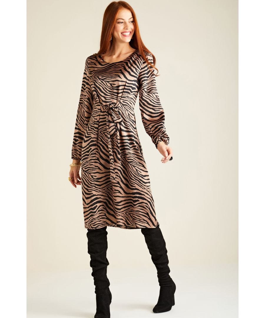 Image for Brown Zebra Print Dress With Tie Detail