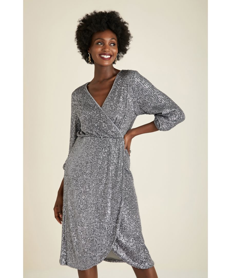Image for Sequin Wrap Over Party Dress