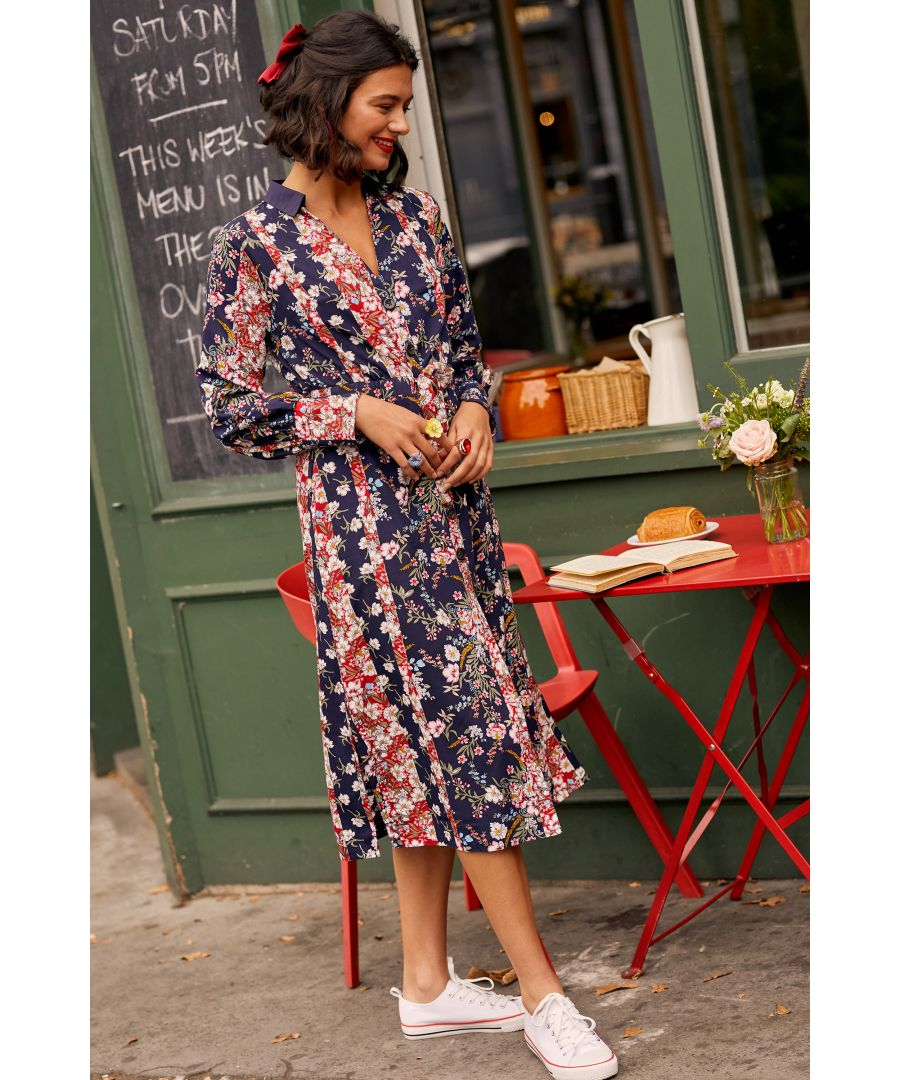 Image for Multi Ditsy Stripe Midi Shirtdress