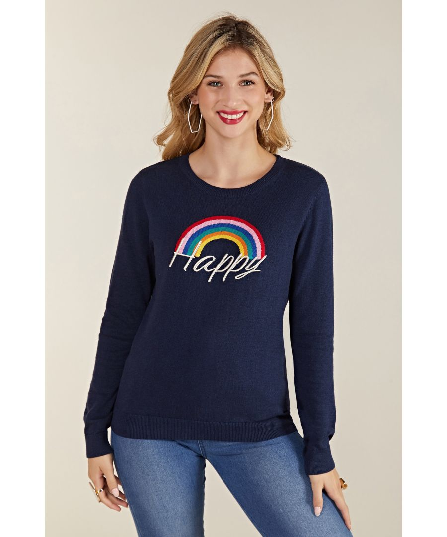 Image for Intarsia Navy Knit Happy Jumper