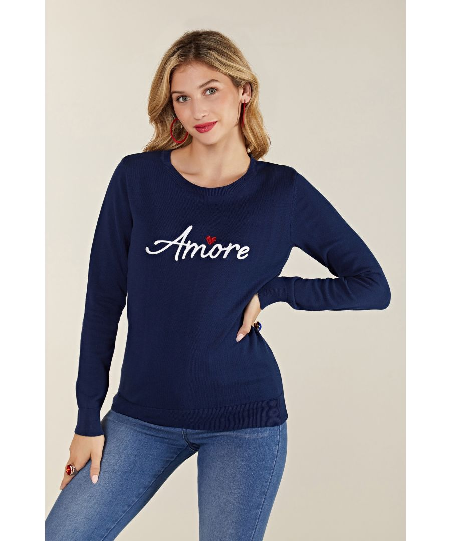 Image for Embroidery Navy Amore Knit Jumper