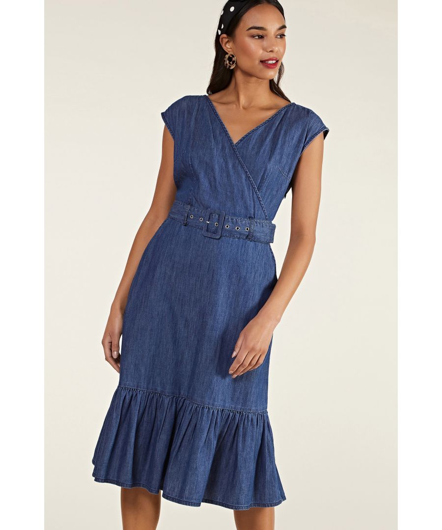 Image for Blue Denim Gypsy Wrap Dress With Belt