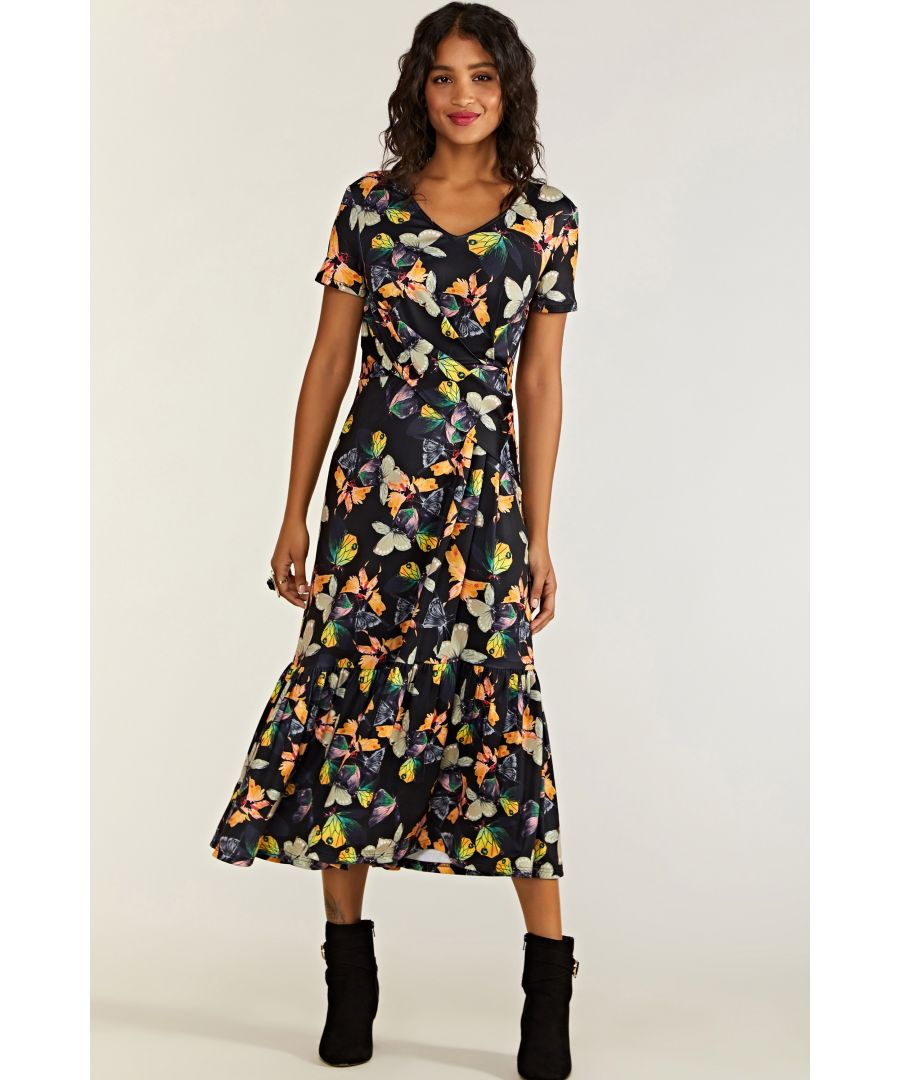 Image for Black Butterfly Printed Frill Hem Midi Dress