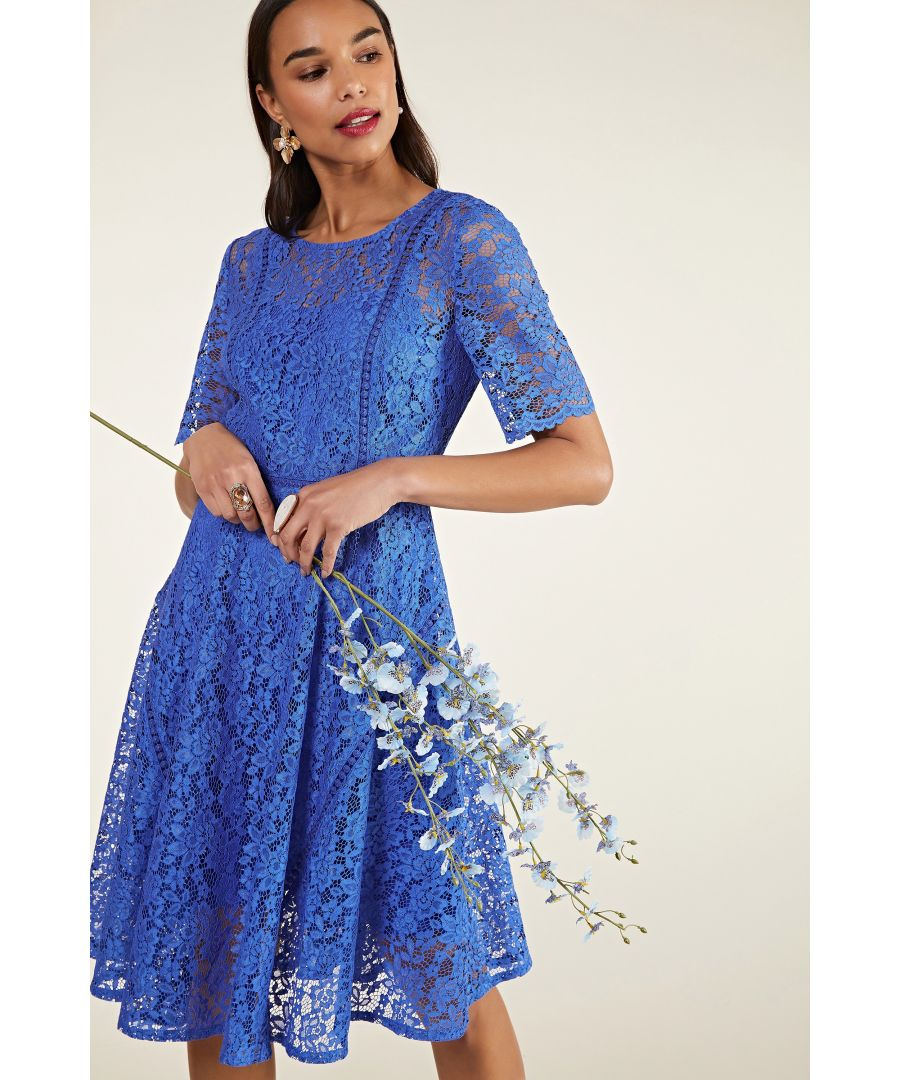 Image for Blue Lace Wedding Guest Dress