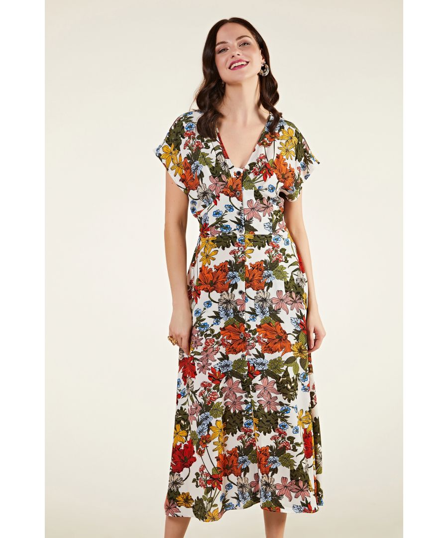 Image for Jungle Print Button Through Midi Dress