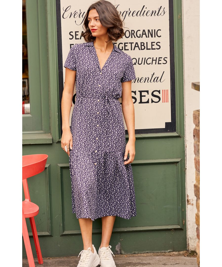 Image for Navy Ditsy Floral Midi Dress