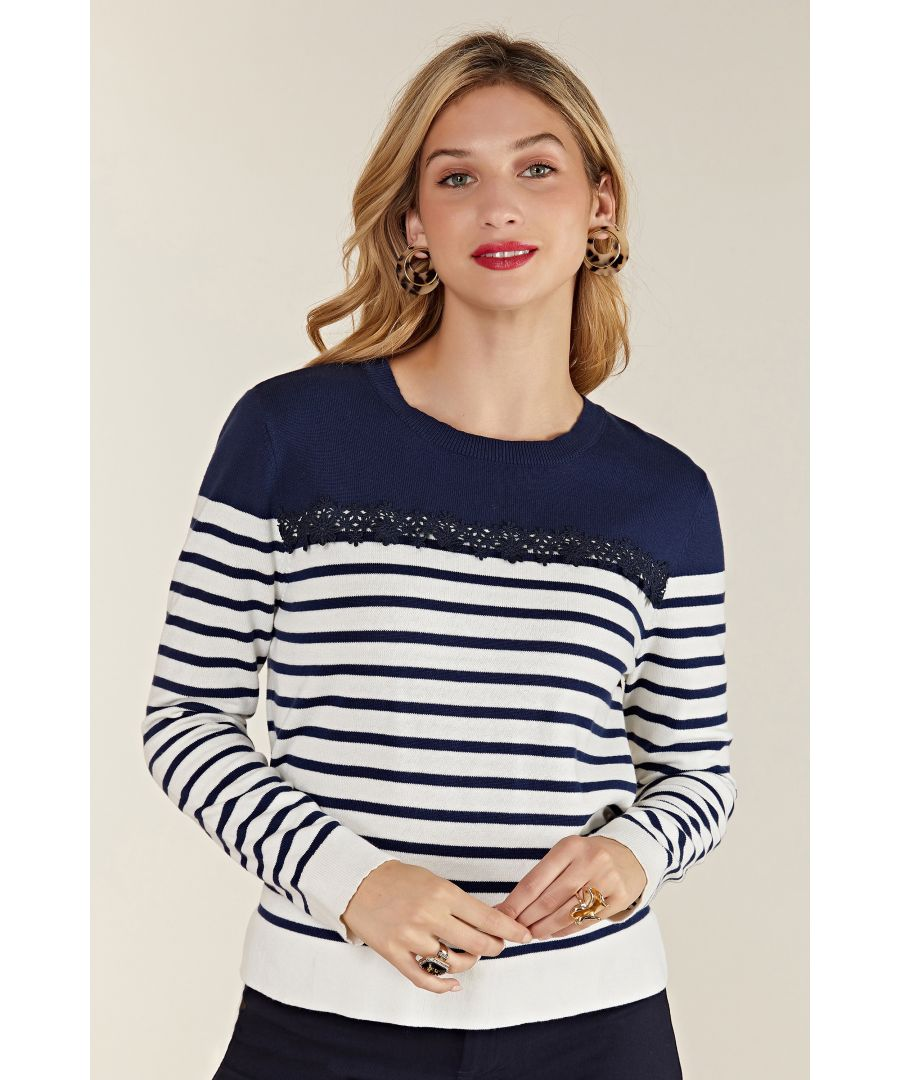 Image for Nautical Navy Stripe Jumper With Lace De