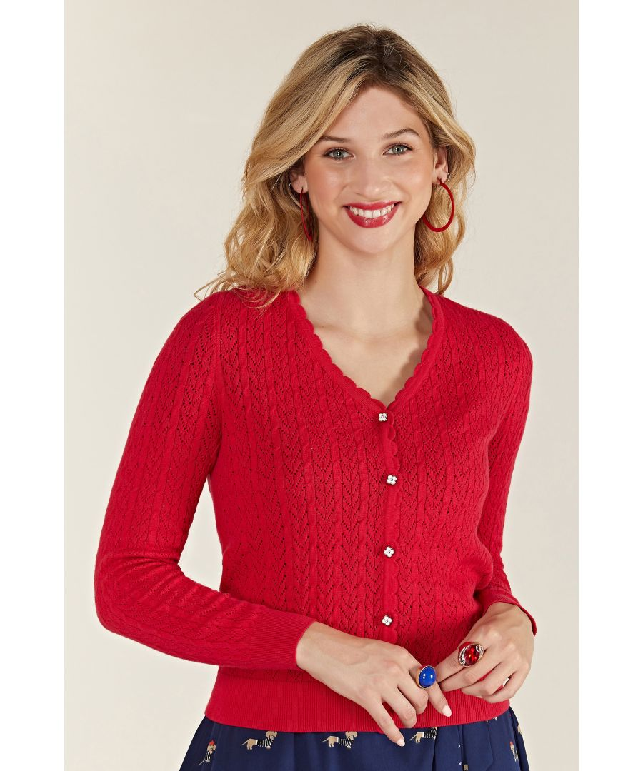 Image for Pointelle Stitch Cardigan With Daisy But