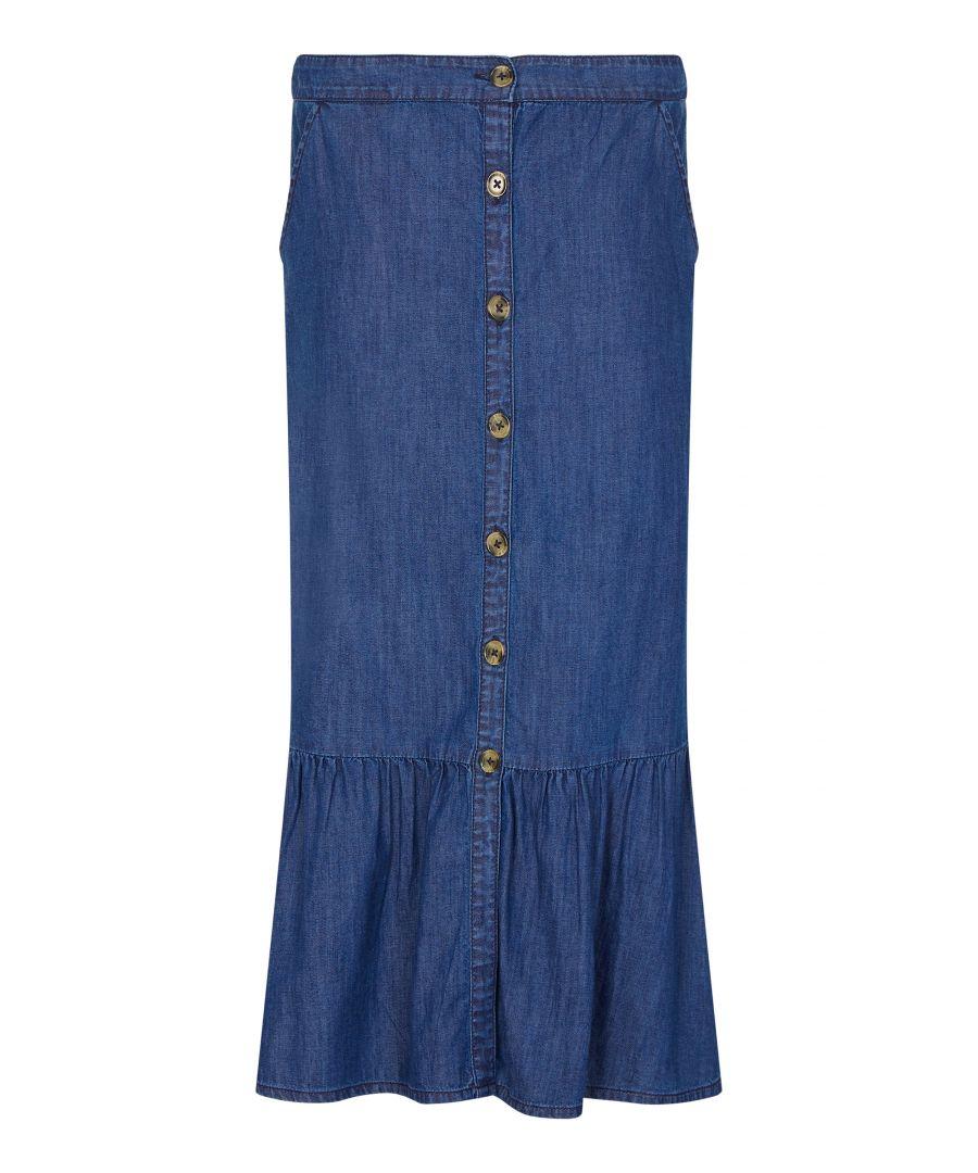 Image for Denim Button Through Frill Skirt
