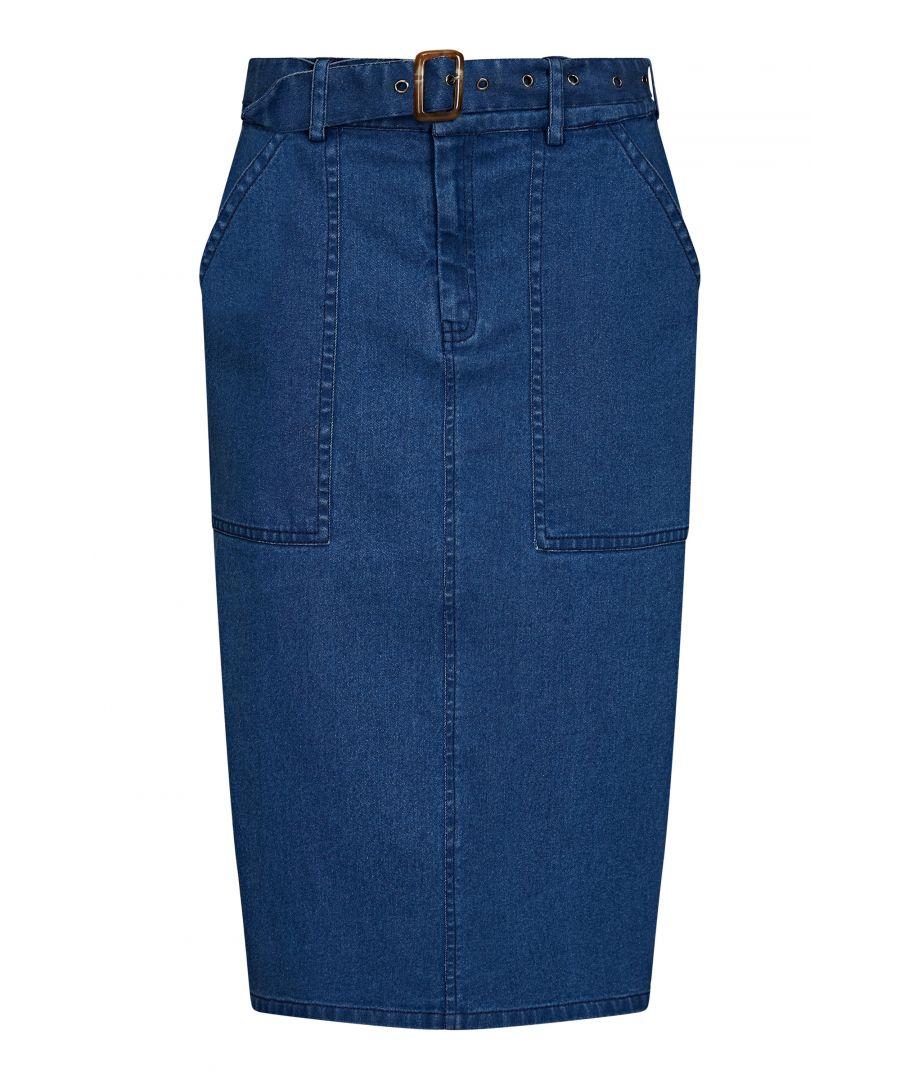Image for Longer Line Denim Skirt With Belt Detail
