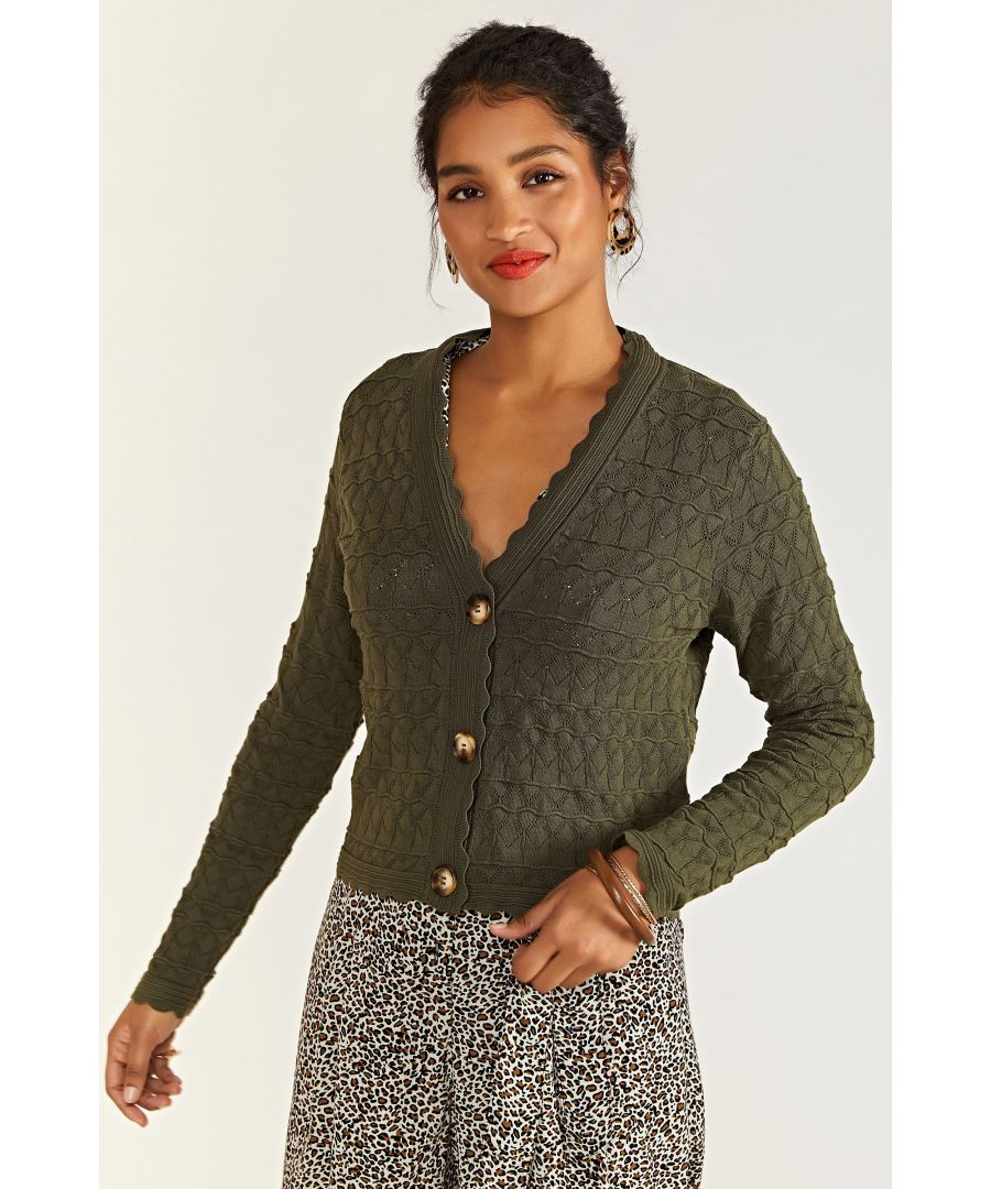 Image for Pointelle Stitch Cardigan With Over Size