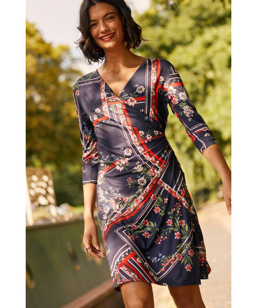 Image for Navy Ruched Floral Scarf Print Dress