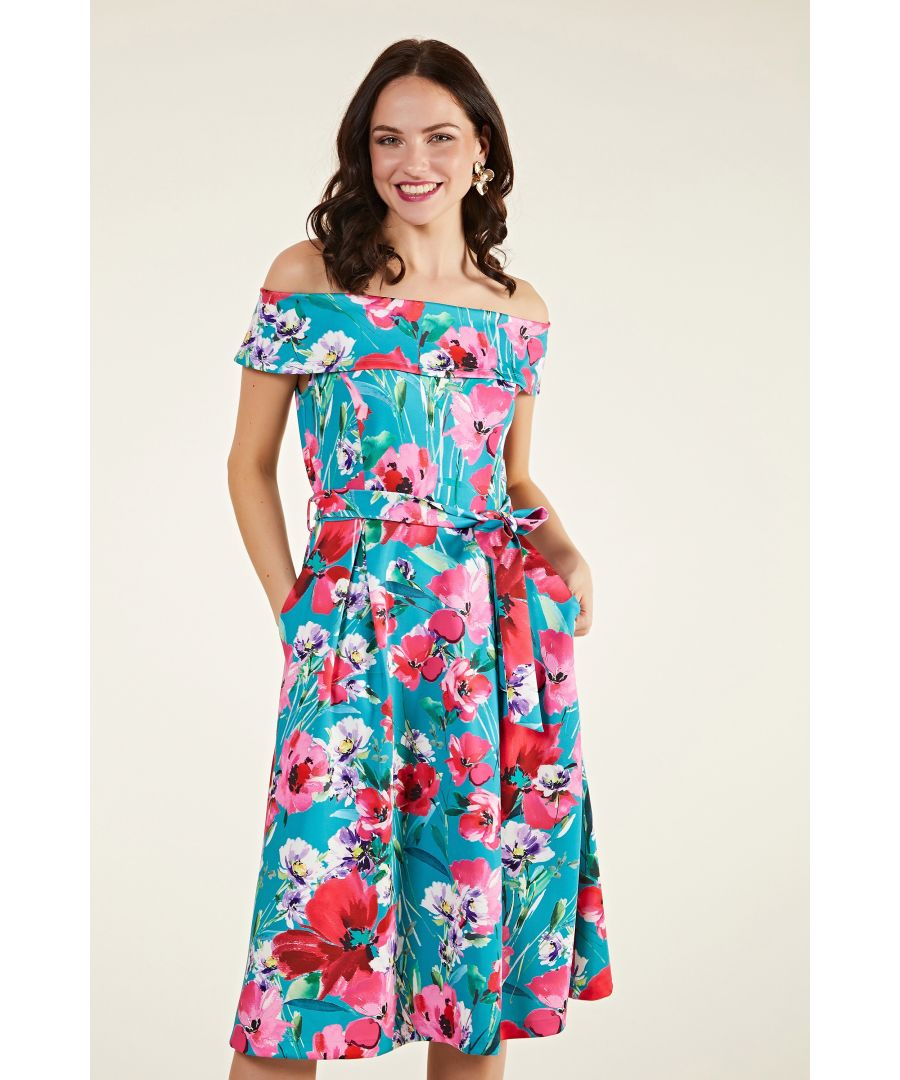 Image for Poppy Print Scuba Bardot Dress
