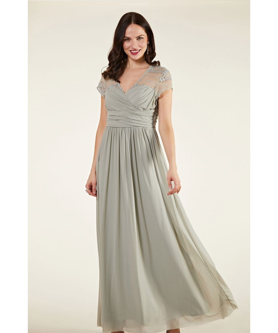 Image for Ruched Wrap Mesh And Lace Maxi Dress