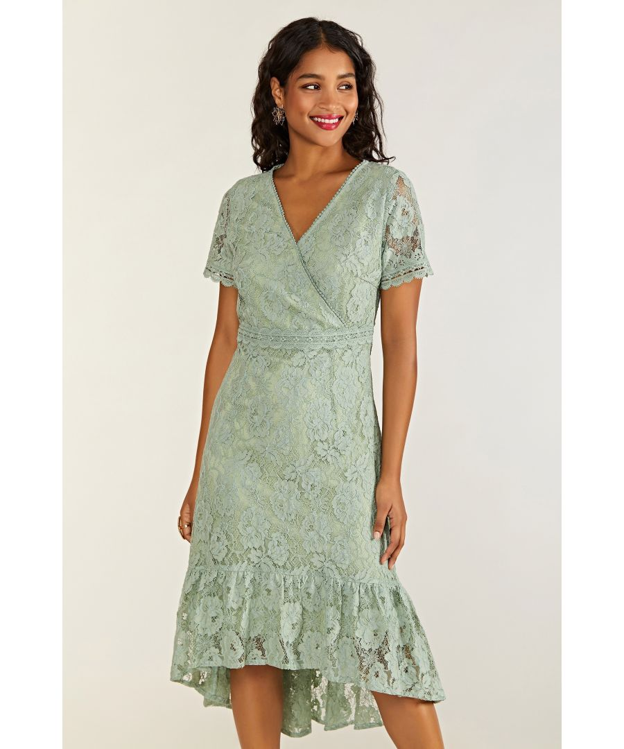 Image for Lace Frill Dress With Lace Trim Detail