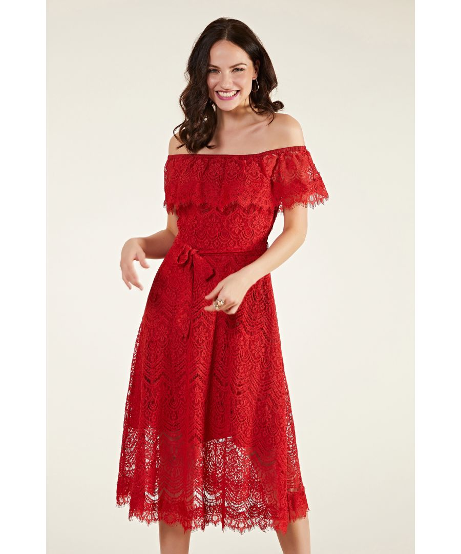 Image for Bardot Lace Dress With Tie Belt
