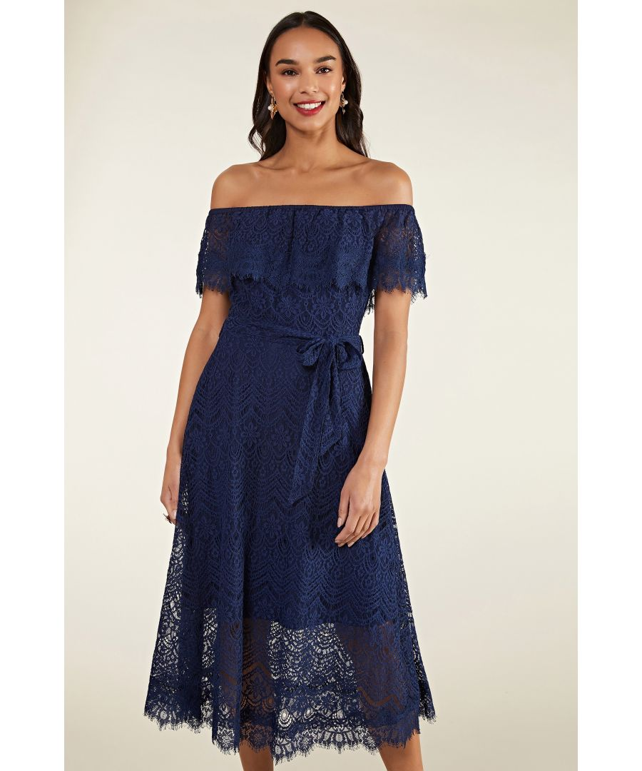Image for Navy Bardot Lace Dress With Tie Belt