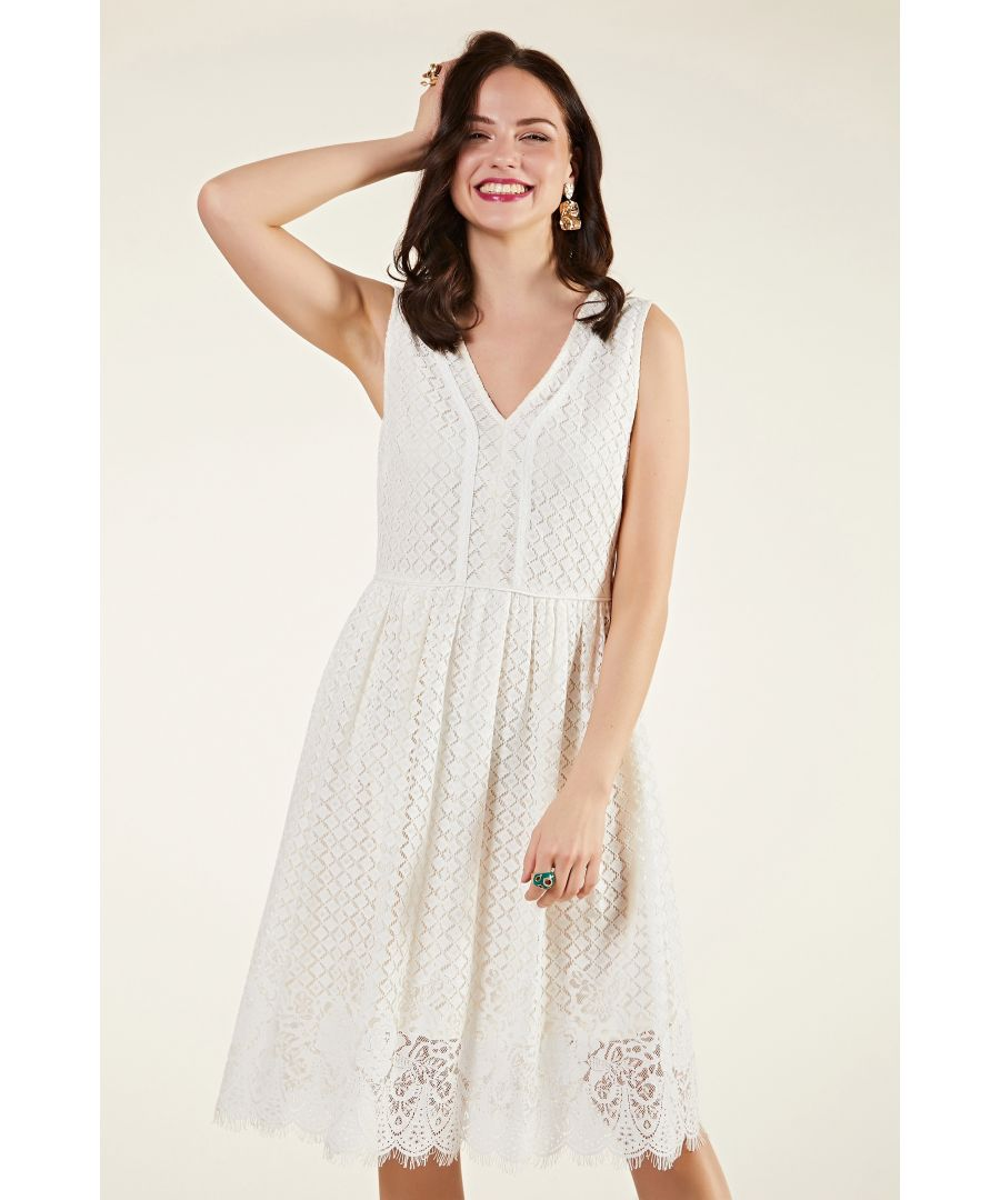 Image for Border Lace Dress With Trim Detail