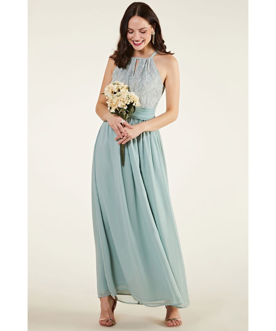 Image for Green Lace Wrap Bridesmaid Dress