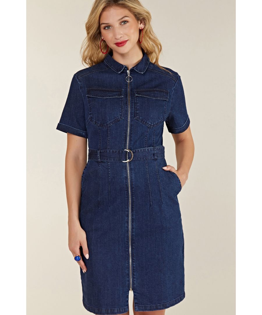 Image for Blue Denim Shirt Dress With Zipper
