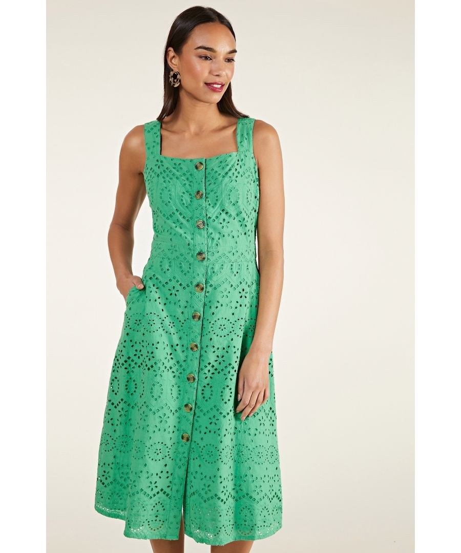 Image for Patterned Broderie Anglaise Dress With B