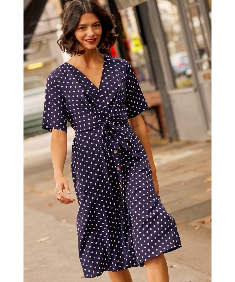 Image for Navy Spot Tie Knot Button Detail Dress