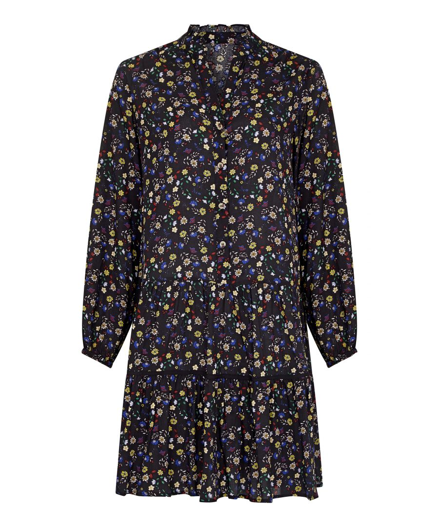 Image for Black Plus Size Ditsy Floral Tunic Dress