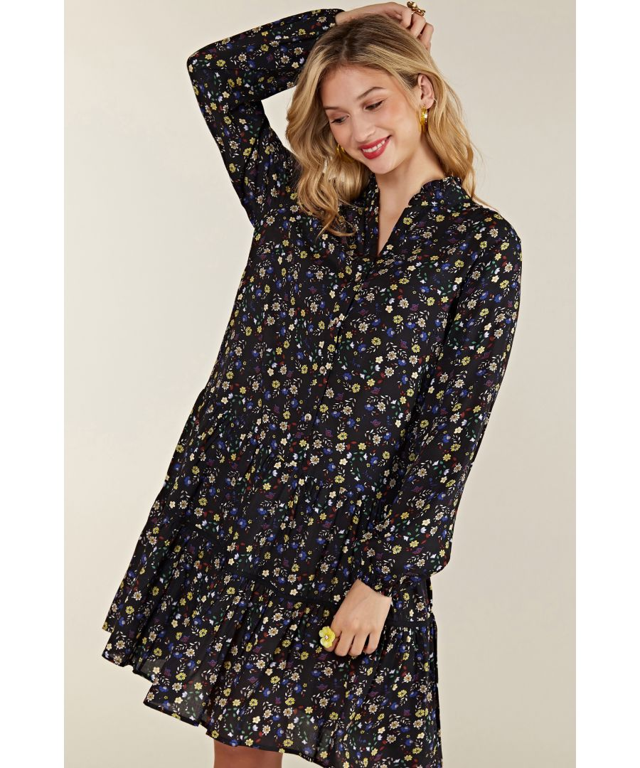 Image for Black Ditsy Floral Tiered Tunic