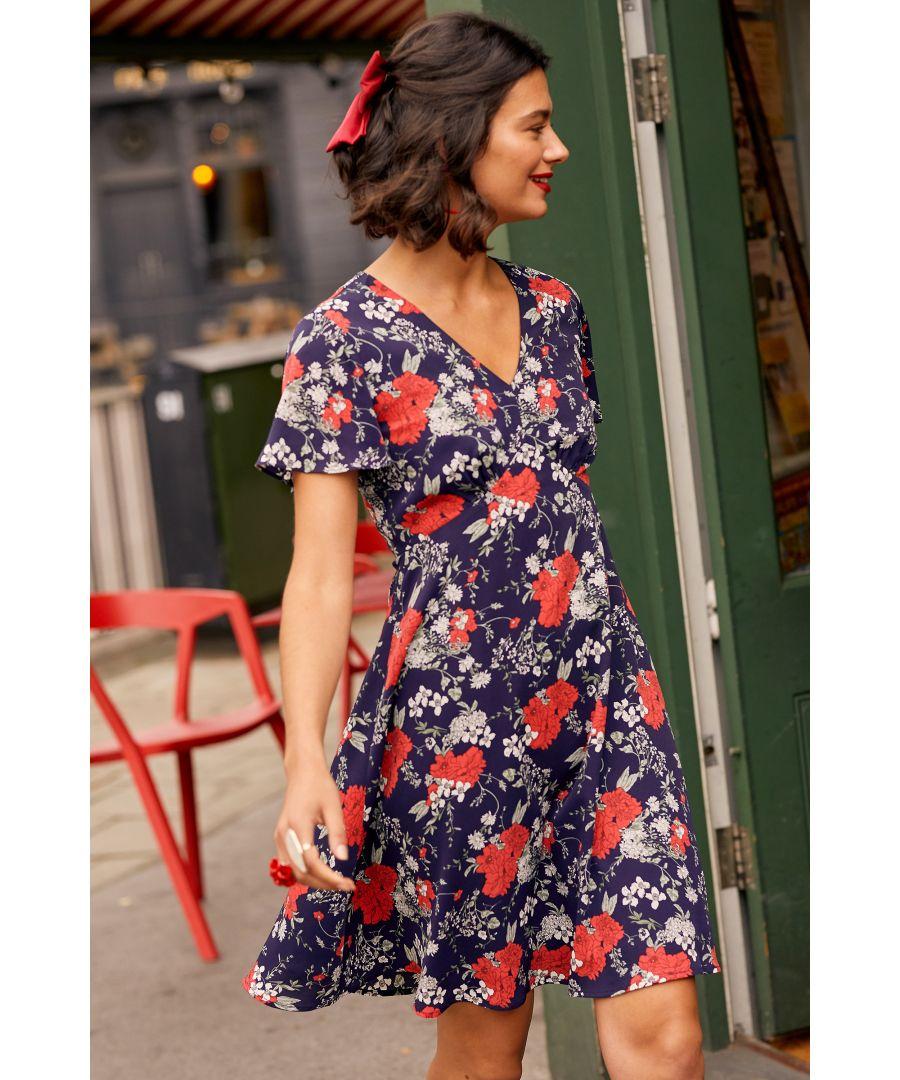 Image for Navy Poppy Print Tea Dress