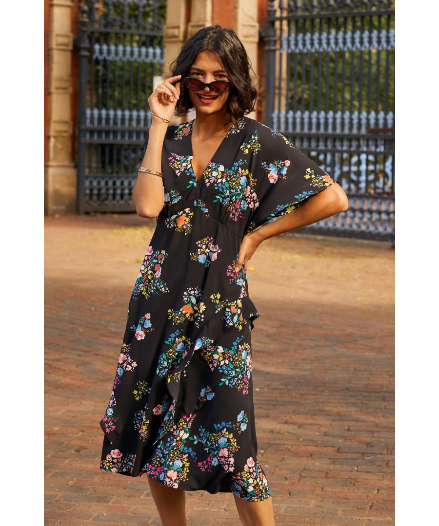 Image for Black Spring Time Floral Print Kimono Dress