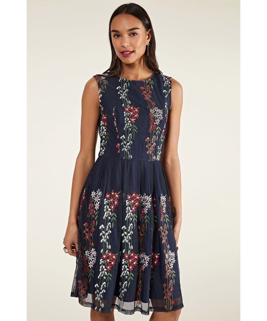 Image for Embroidered Floral Mesh Dress