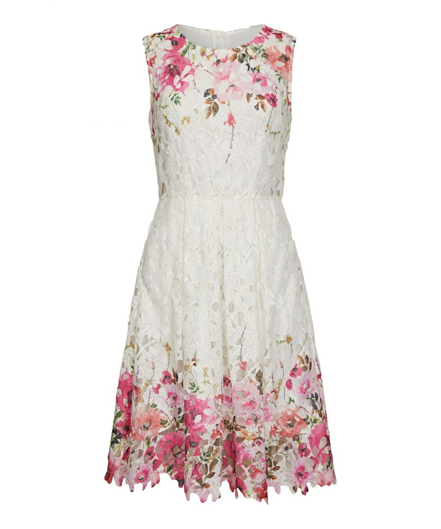 Image for White Floral Mirror Lace Dress