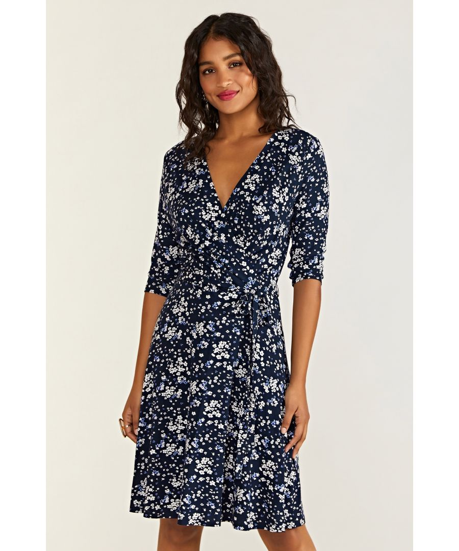 Image for Ditsy Floral Blue Wrap Dress
