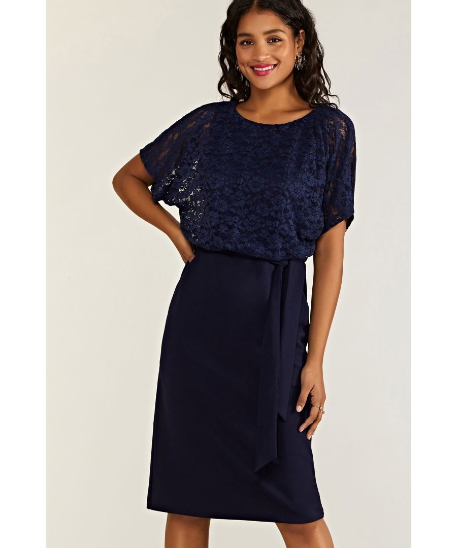 Image for Navy Lace And Ponte Dress With Kimono Sleeves