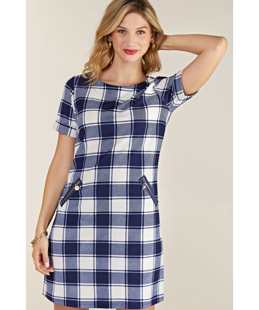 Image for Navy Check Tunic With Zip Pocket Detail