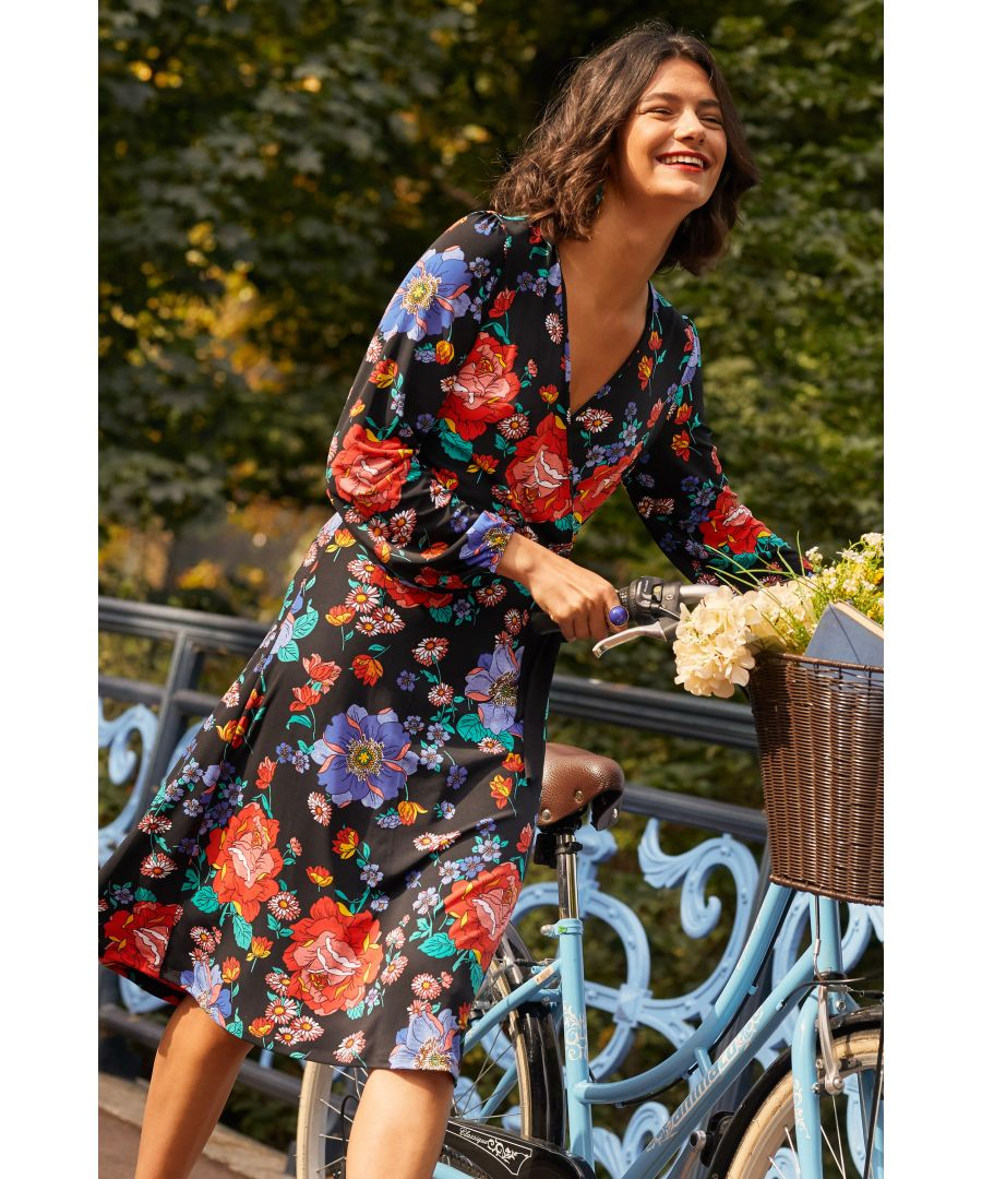 Image for Black Daisy Floral  Wrap Dress