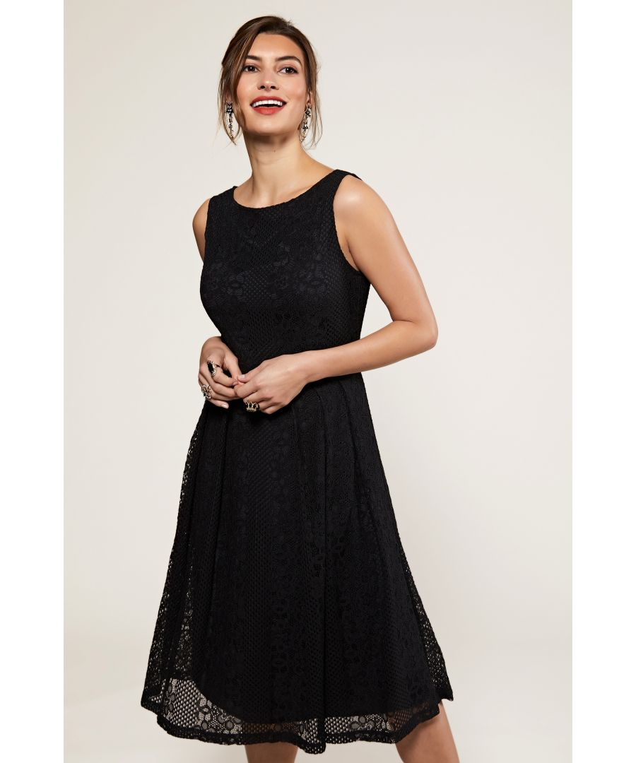 Image for Black Fit And Flare Pleated Lace Dress