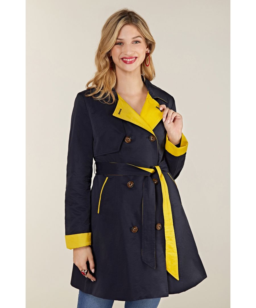 Image for Navy Rain Mac With Spot Lining