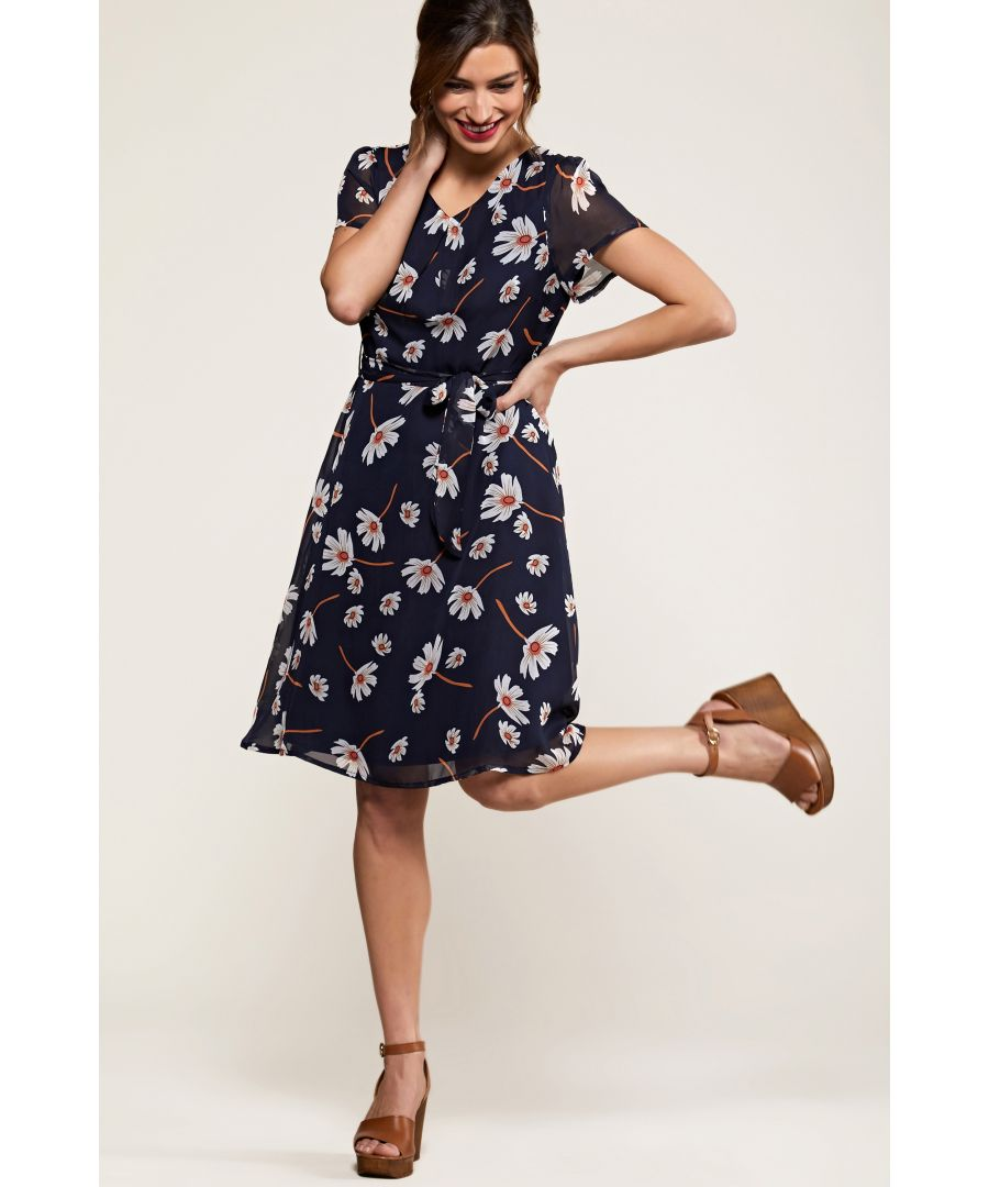 Image for Navy Daisy Print Skater Dress
