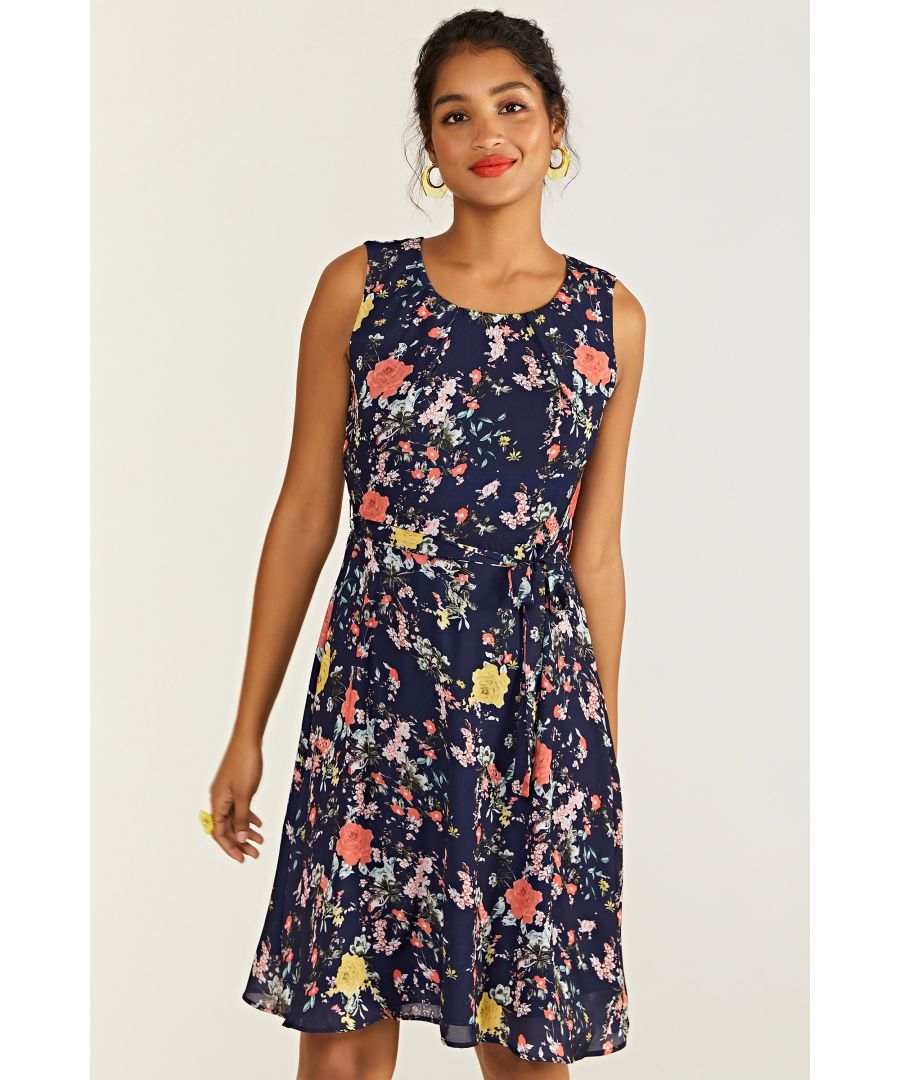 Image for Navy Bird And Rose Print Skater Dress