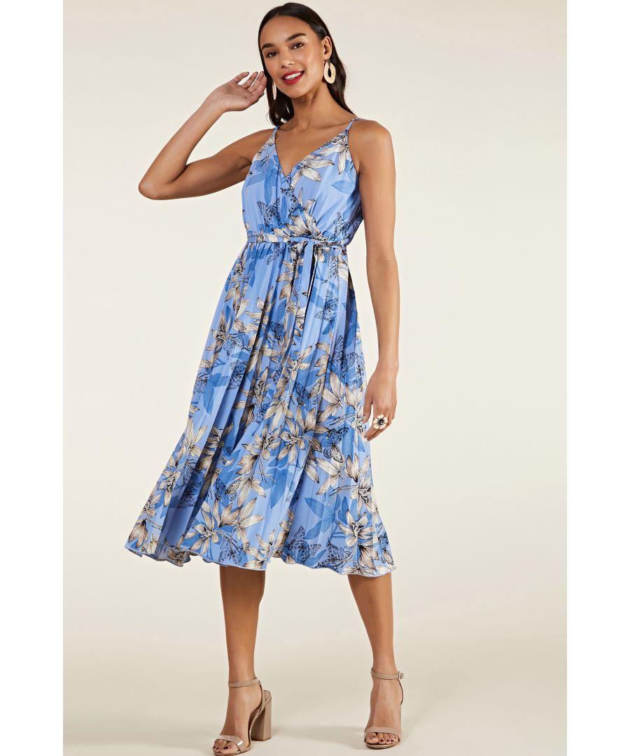 Image for Blue Butterfly Pleated Midi Dress
