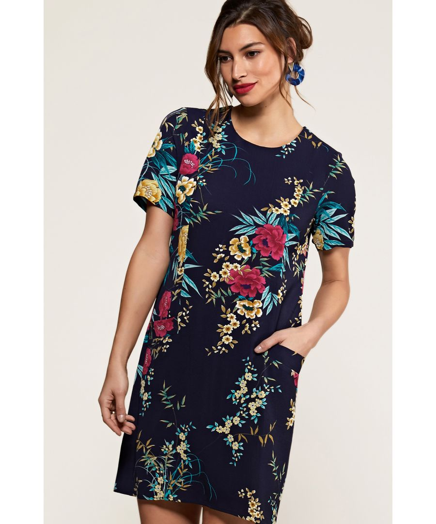 Image for Navy Oriental Floral Tunic