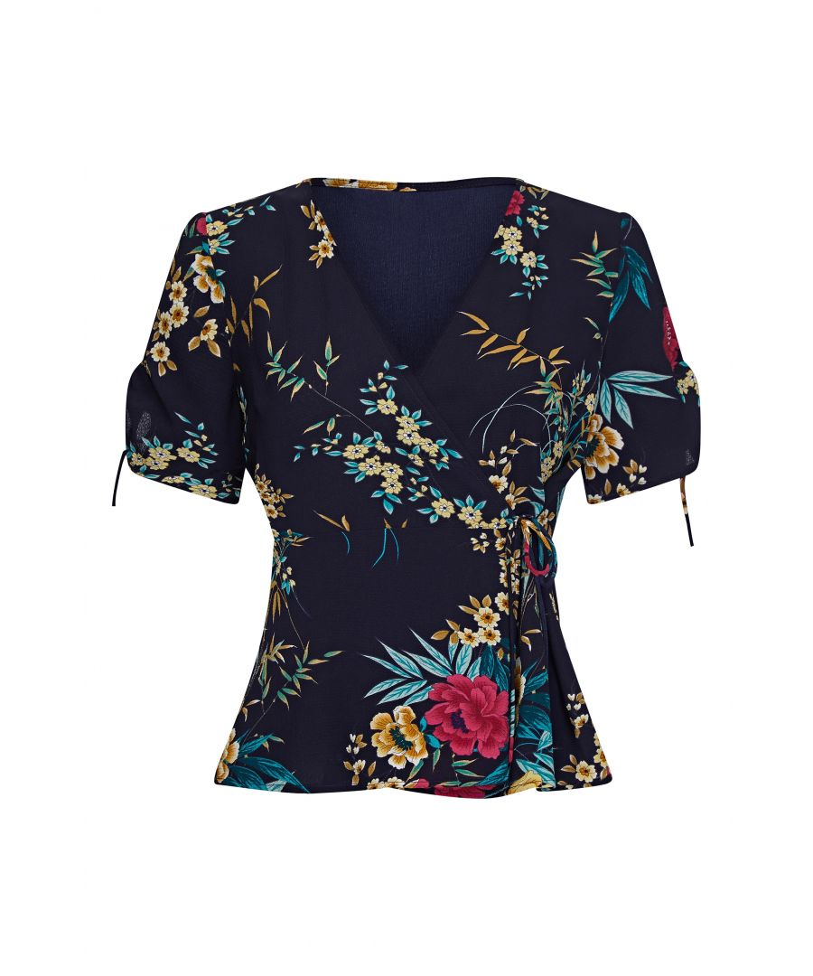 Image for Oriental Print Wrap Top