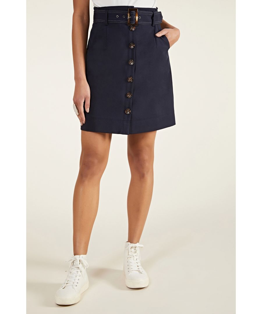 Image for Button Through Skirt With Belt Detail