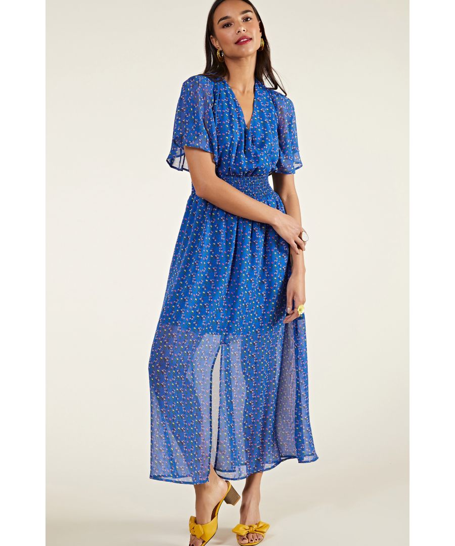 Image for Blue Sheer Ditsy Floral Maxi Dress