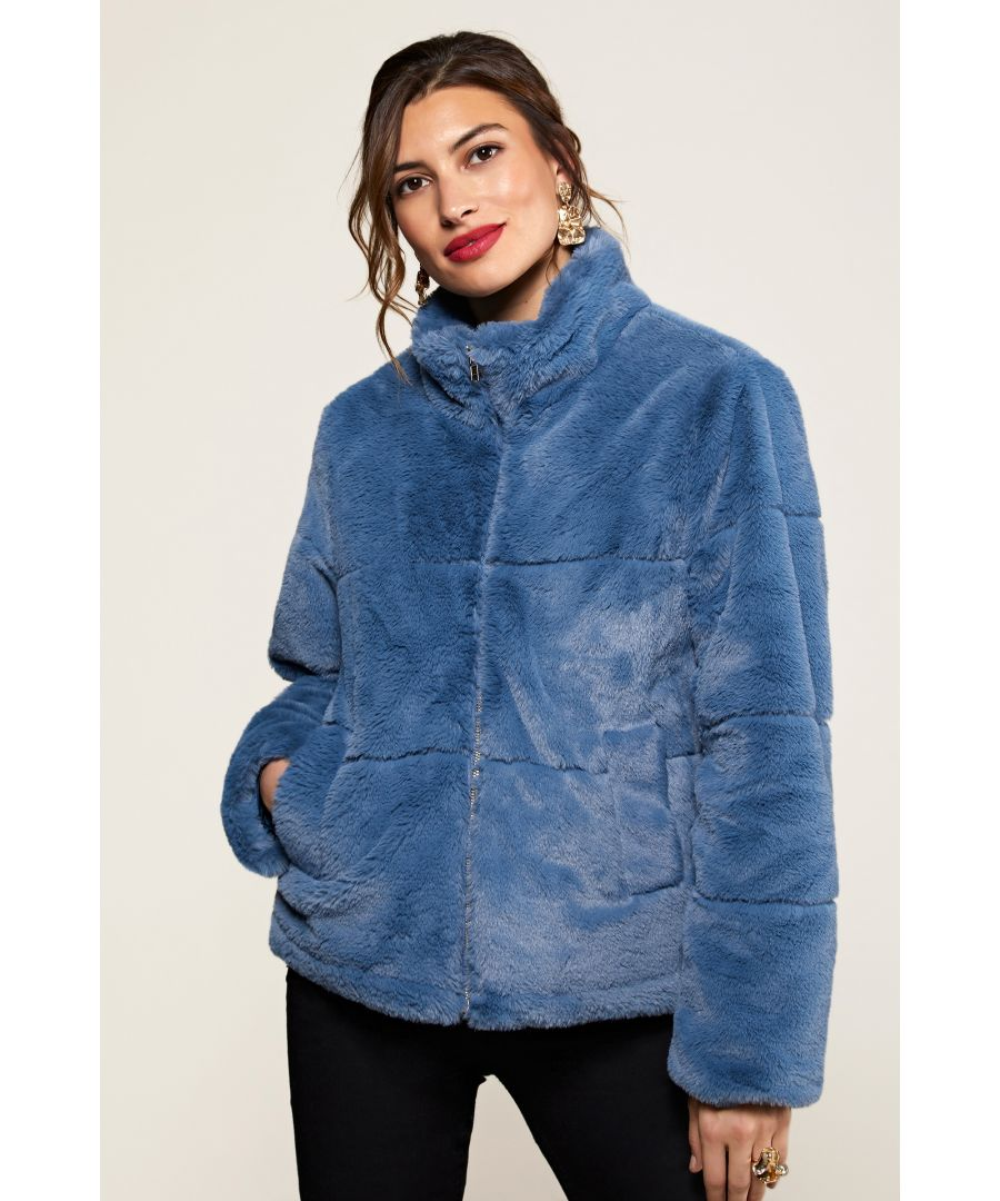 Image for Blue Faux Fur Jacket With Collar Detail