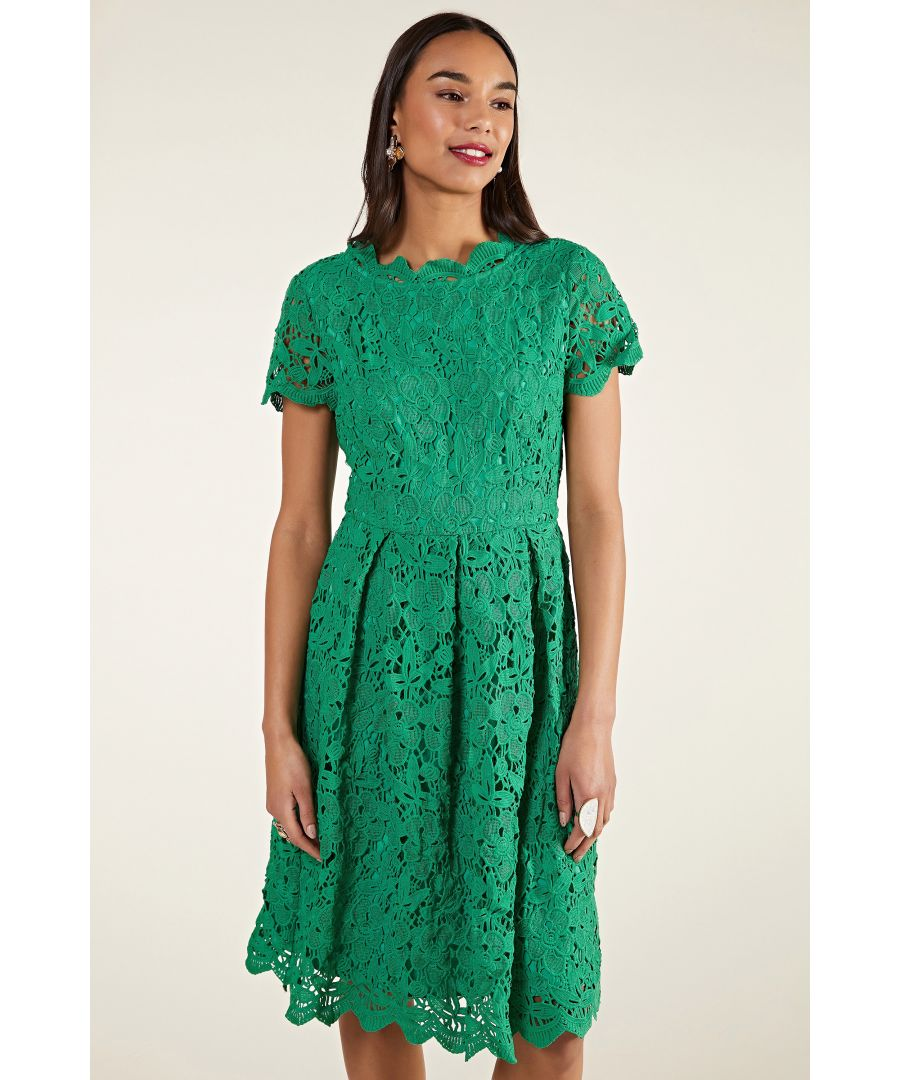 Image for Green Guipure Lace Skater Dress