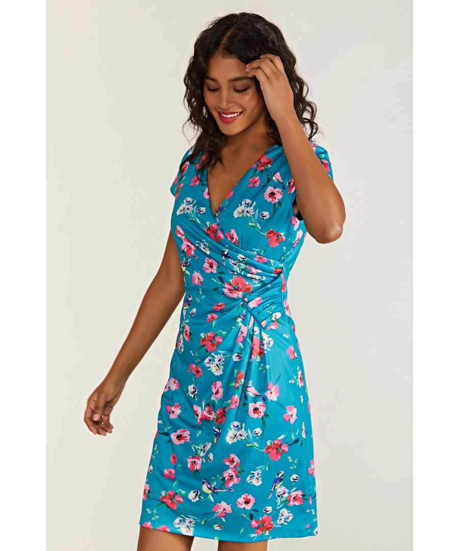 Image for Bird And Floral Wrap Ruched Dress