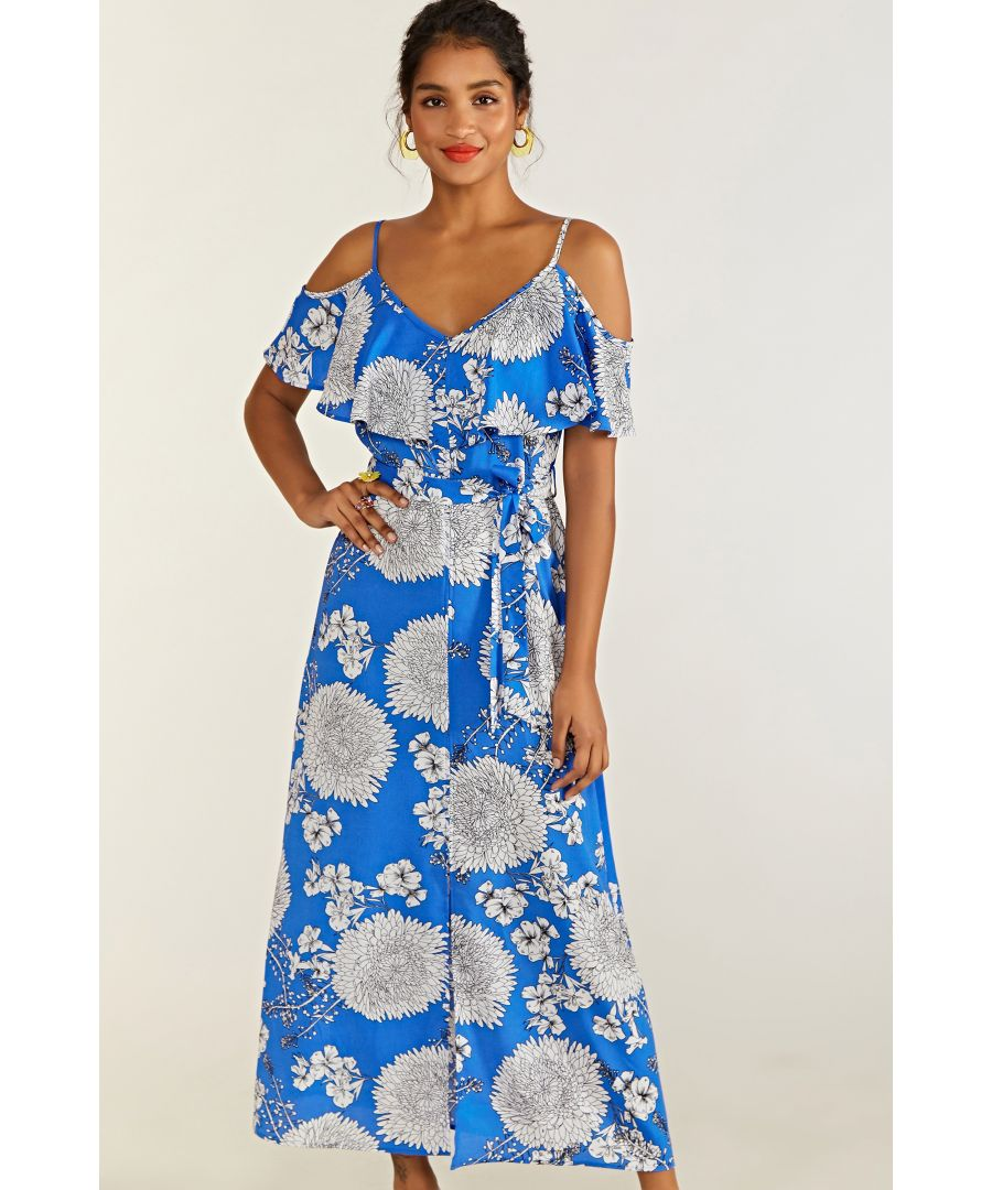 Image for Blue Floral Frill Maxi Dress