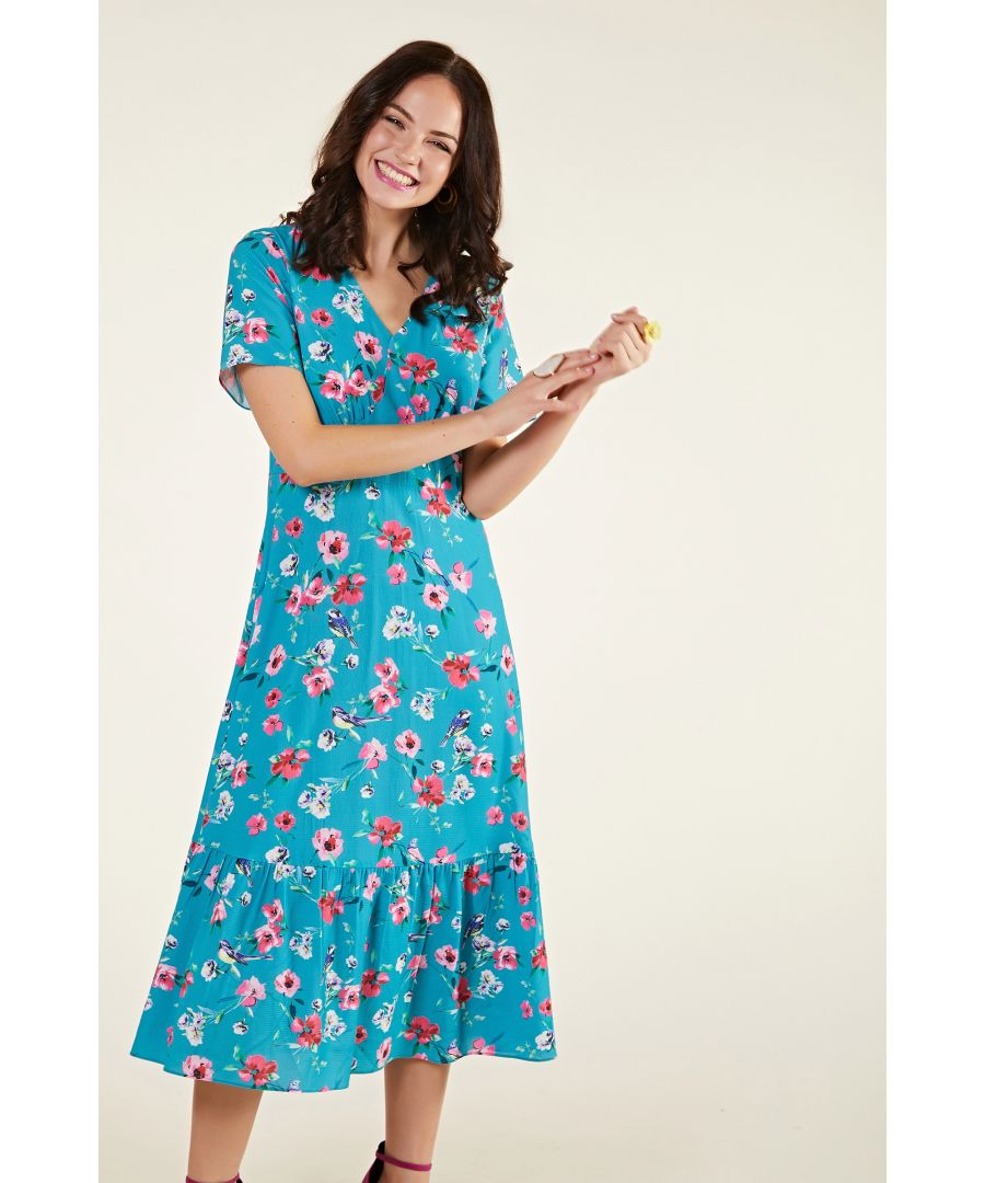 Image for Floral And Bird Print Midi Dress